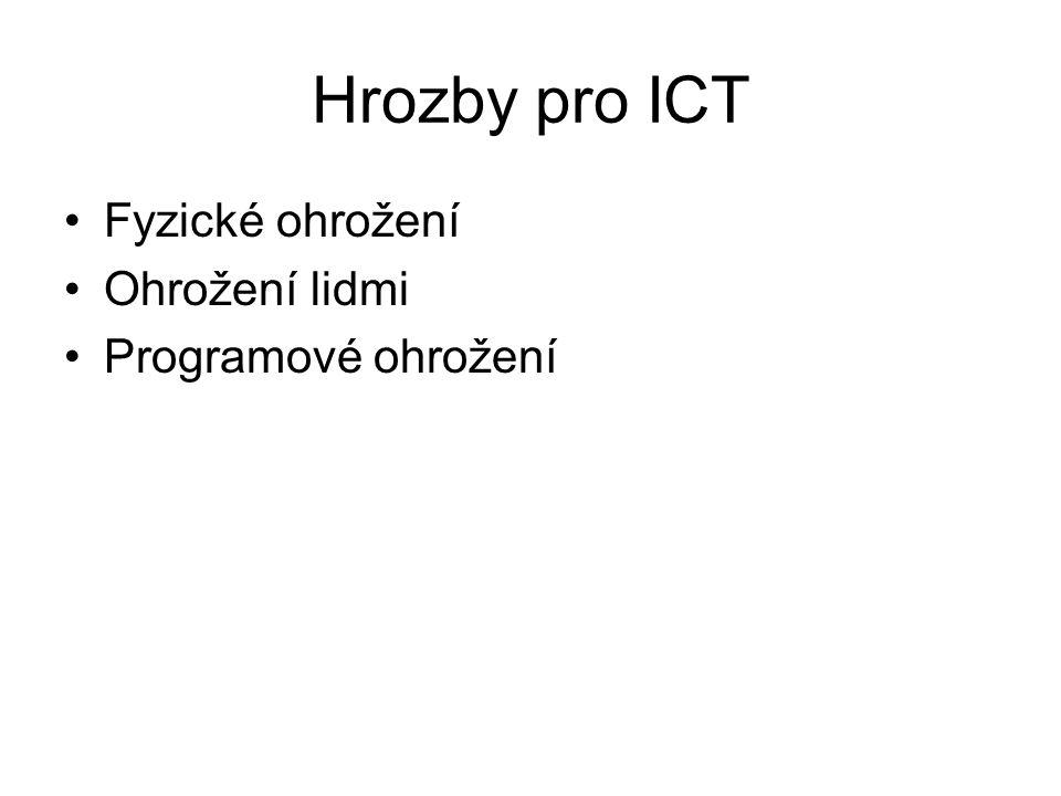 Hrozby pro ICT Fyzické ohrožení Ohrožení lidmi Programové ohrožení