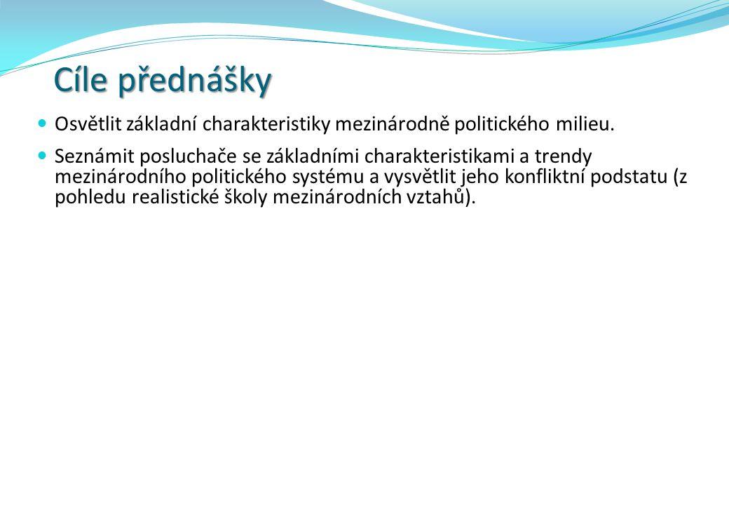 Cíle přednášky Osvětlit základní charakteristiky mezinárodně politického milieu.