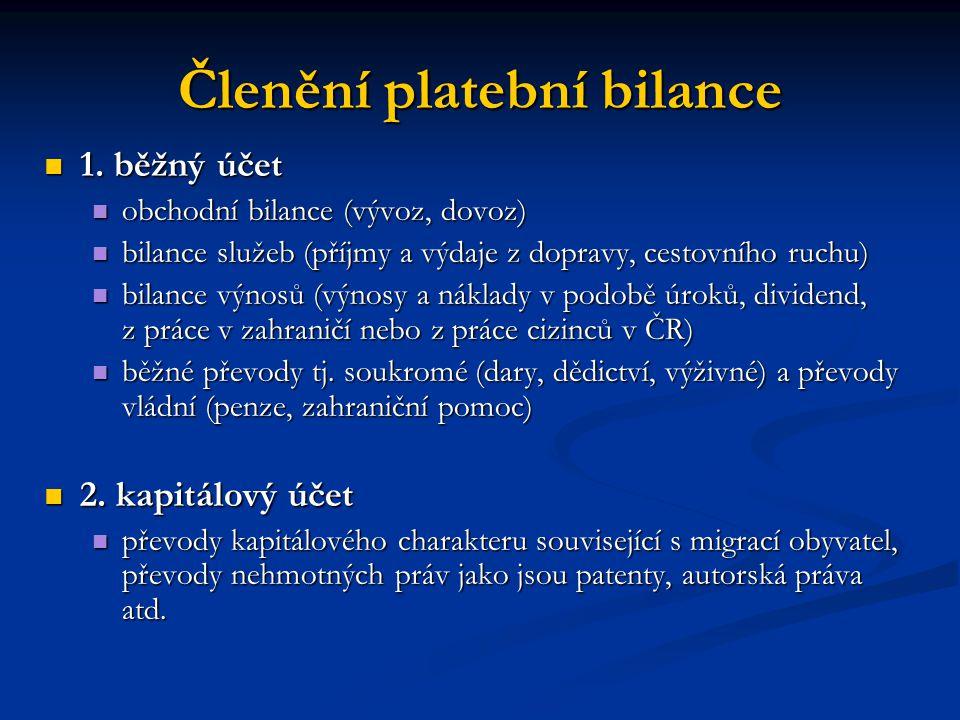 Členění platební bilance 3.finanční účet 3.