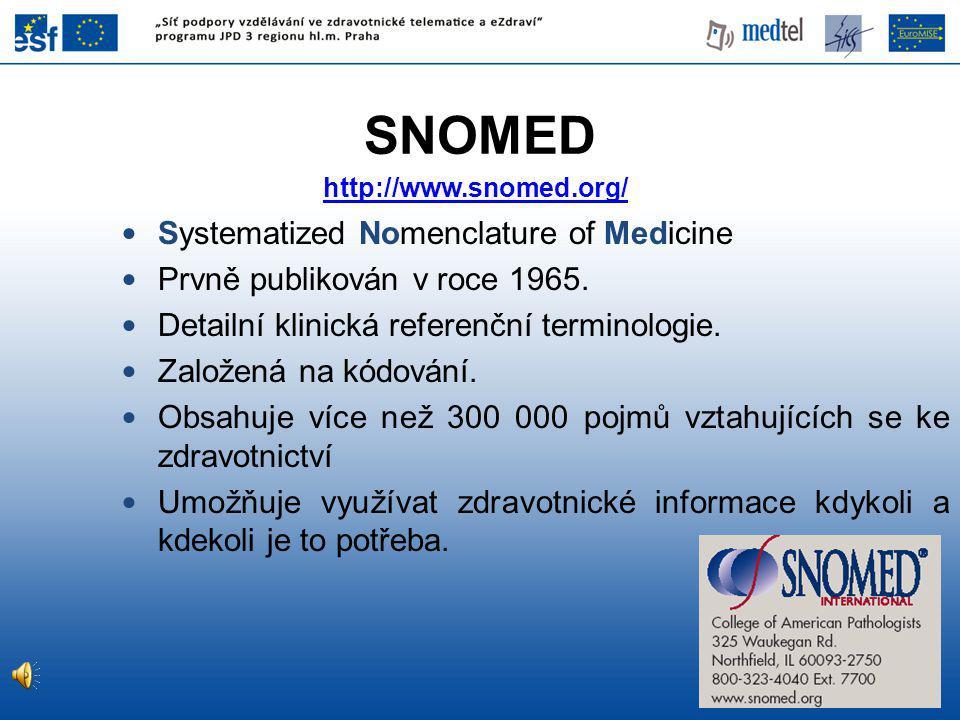 http://www.snomed.org/ Systematized Nomenclature of Medicine Prvně publikován v roce 1965.