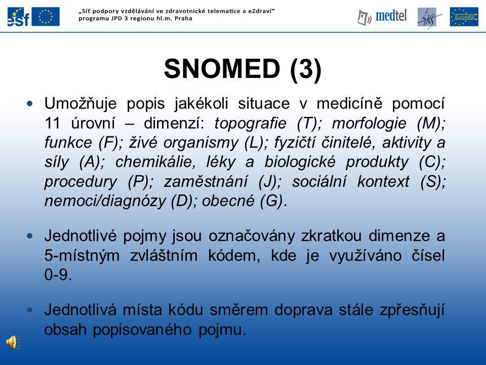 Umožňuje popis jakékoli situace v medicíně pomocí 11 úrovní – dimenzí: topografie (T); morfologie (M); funkce (F); živé organismy (L); fyzičtí činitelé, aktivity a síly (A); chemikálie, léky a biologické produkty (C); procedury (P); zaměstnání (J); sociální kontext (S); nemoci/diagnózy (D); obecné (G).