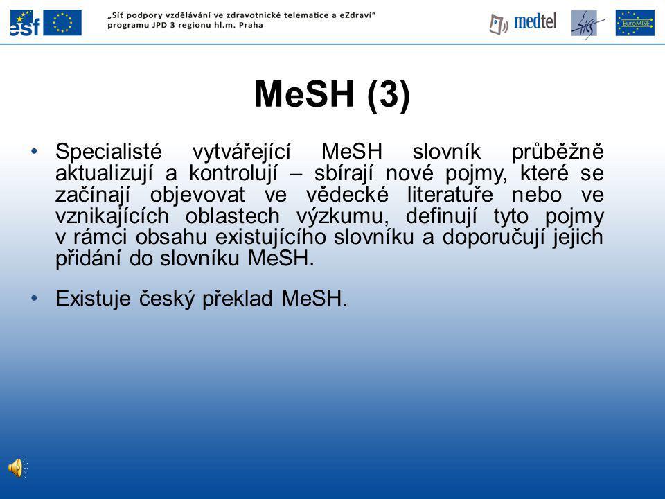 Specialisté vytvářející MeSH slovník průběžně aktualizují a kontrolují – sbírají nové pojmy, které se začínají objevovat ve vědecké literatuře nebo ve vznikajících oblastech výzkumu, definují tyto pojmy v rámci obsahu existujícího slovníku a doporučují jejich přidání do slovníku MeSH.