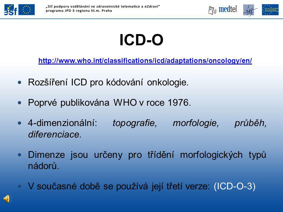 http://www.who.int/classifications/icd/adaptations/oncology/en/ Rozšíření ICD pro kódování onkologie.