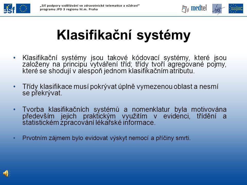 Klasifikační systémy jsou takové kódovací systémy, které jsou založeny na principu vytváření tříd; třídy tvoří agregované pojmy, které se shodují v alespoň jednom klasifikačním atributu.