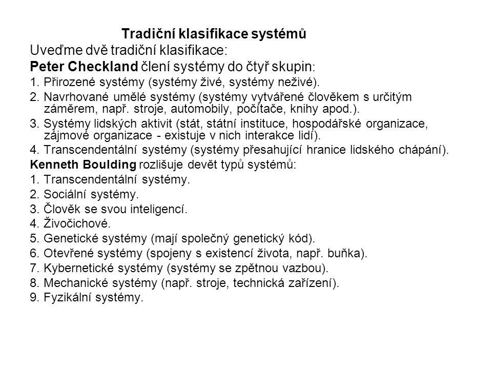 Tradiční klasifikace systémů Uveďme dvě tradiční klasifikace: Peter Checkland člení systémy do čtyř skupin : 1. Přirozené systémy (systémy živé, systé