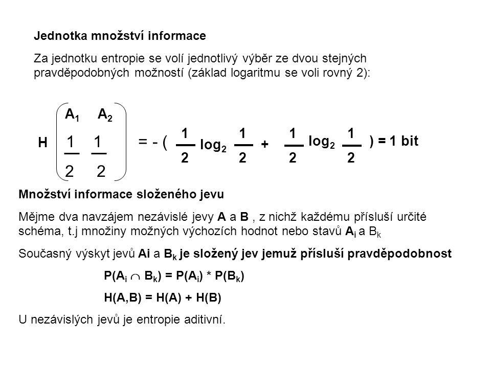 Jednotka množství informace Za jednotku entropie se volí jednotlivý výběr ze dvou stejných pravděpodobných možností (základ logaritmu se voli rovný 2)
