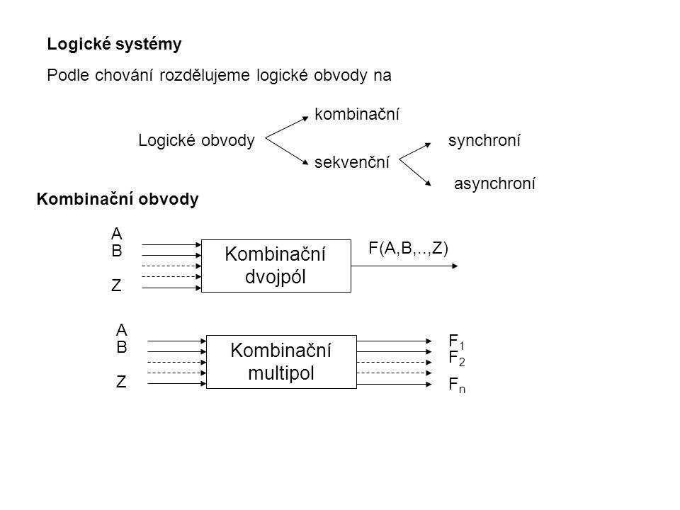 Logické systémy Podle chování rozdělujeme logické obvody na synchroní asynchroní Logické obvody kombinační sekvenční Kombinační dvojpól ABZABZ F(A,B,.