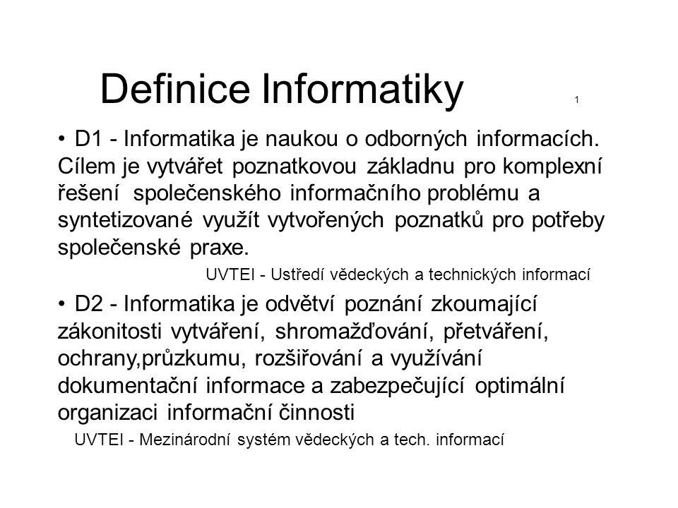Definice Informatiky 1 D1 - Informatika je naukou o odborných informacích. Cílem je vytvářet poznatkovou základnu pro komplexní řešení společenského i