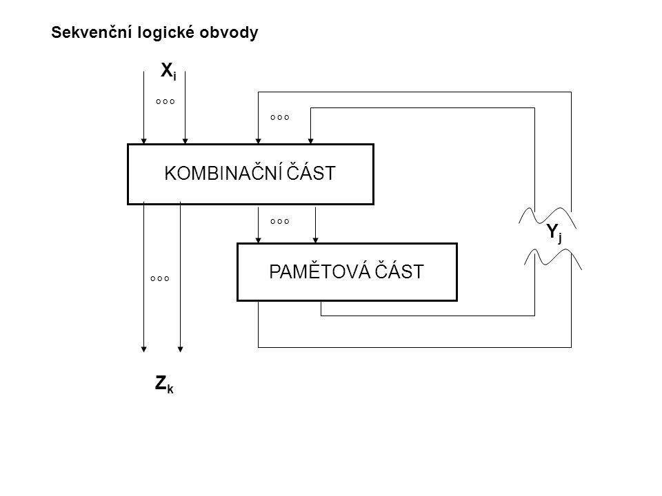Sekvenční logické obvody KOMBINAČNÍ ČÁST PAMĚTOVÁ ČÁST °°° XiXi ZkZk YjYj