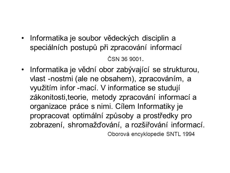 Informatika je soubor vědeckých disciplin a speciálních postupů při zpracování informací ČSN 36 9001. Informatika je vědní obor zabývající se struktur