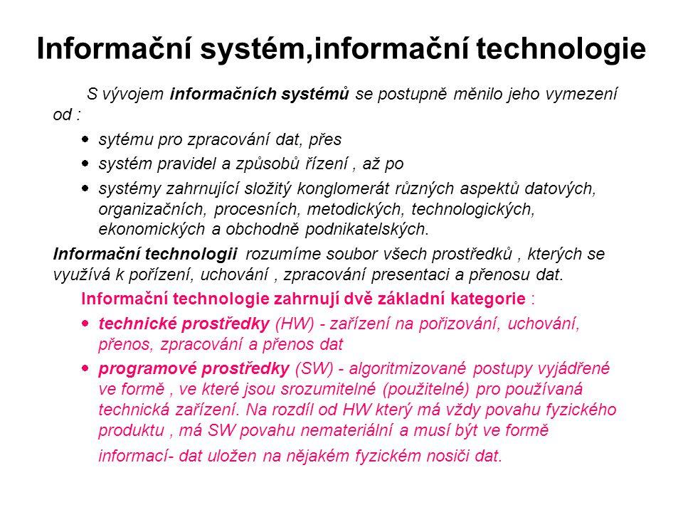 Informační systém,informační technologie S vývojem informačních systémů se postupně měnilo jeho vymezení od :  sytému pro zpracování dat, přes  syst