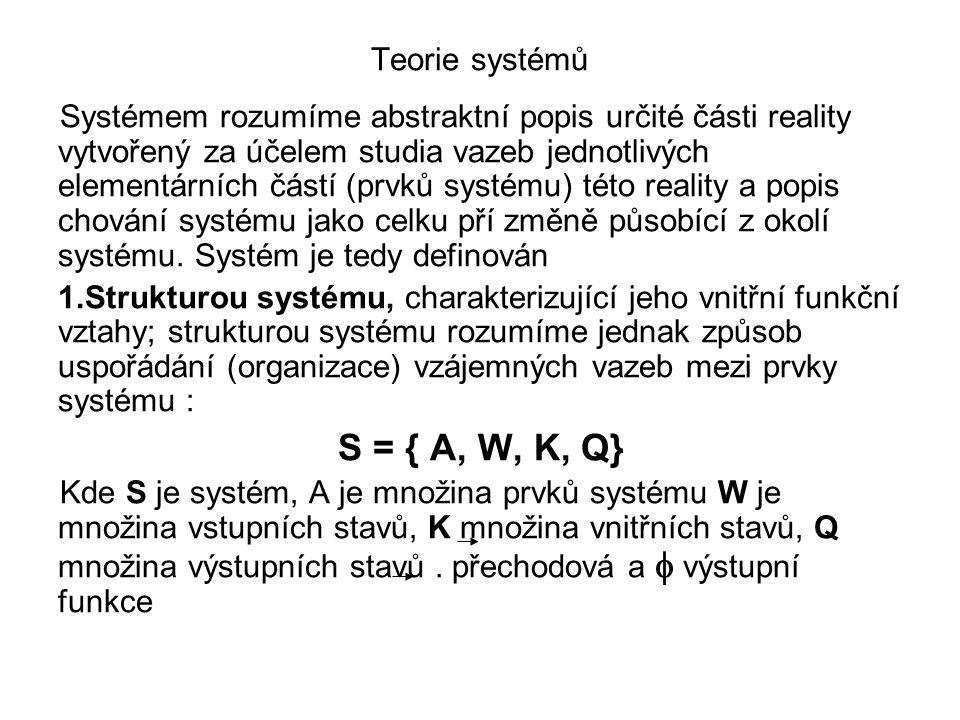 Systémem rozumíme abstraktní popis určité části reality vytvořený za účelem studia vazeb jednotlivých elementárních částí (prvků systému) této reality