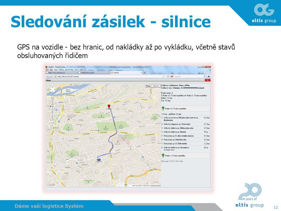 12 Dáme vaší logistice Systém Sledování zásilek - silnice GPS na vozidle - bez hranic, od nakládky až po vykládku, včetně stavů obsluhovaných řidičem