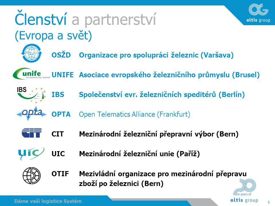 5 Dáme vaší logistice Systém Členství a partnerství (Evropa a svět) OSŽD Organizace pro spolupráci železnic (Varšava) UNIFEAsociace evropského železni