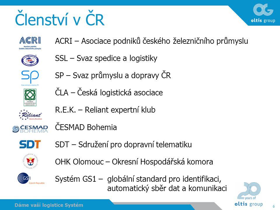 6 Dáme vaší logistice Systém Členství v ČR ACRI – Asociace podniků českého železničního průmyslu SSL – Svaz spedice a logistiky SP – Svaz průmyslu a d