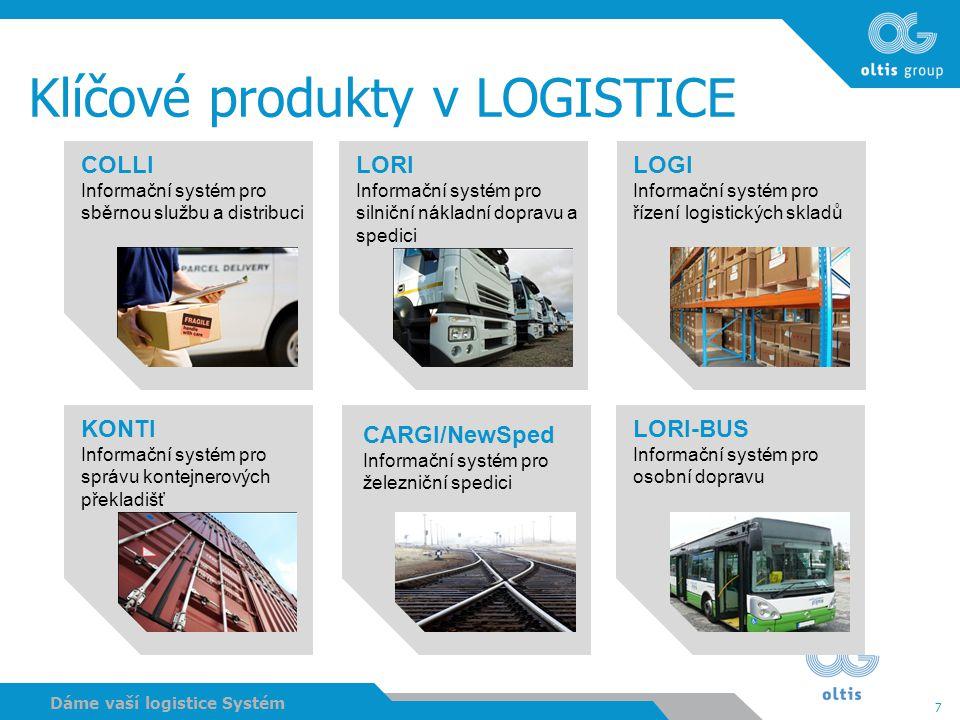 7 Dáme vaší logistice Systém Klíčové produkty v LOGISTICE COLLI Informační systém pro sběrnou službu a distribuci LORI Informační systém pro silniční
