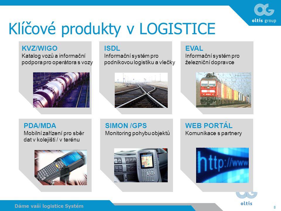 8 Dáme vaší logistice Systém Klíčové produkty v LOGISTICE KVZ/WIGO Katalog vozů a informační podpora pro operátora s vozy ISDL Informační systém pro p