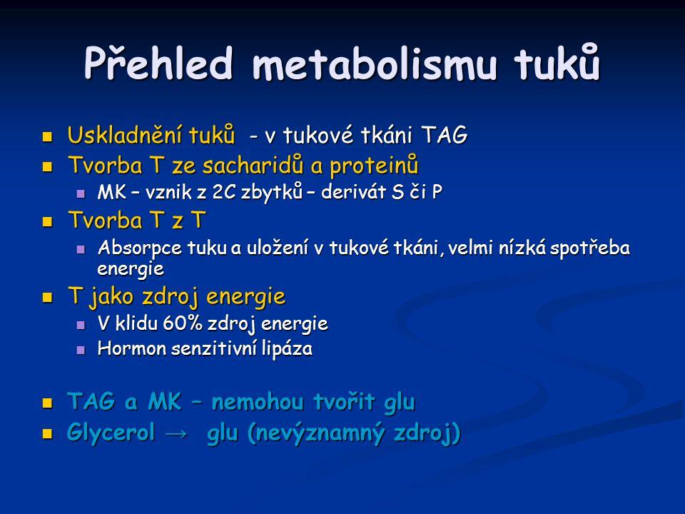 Přehled metabolismu tuků Uskladnění tuků - v tukové tkáni TAG Uskladnění tuků - v tukové tkáni TAG Tvorba T ze sacharidů a proteinů Tvorba T ze sacharidů a proteinů MK – vznik z 2C zbytků – derivát S či P MK – vznik z 2C zbytků – derivát S či P Tvorba T z T Tvorba T z T Absorpce tuku a uložení v tukové tkáni, velmi nízká spotřeba energie Absorpce tuku a uložení v tukové tkáni, velmi nízká spotřeba energie T jako zdroj energie T jako zdroj energie V klidu 60% zdroj energie V klidu 60% zdroj energie Hormon senzitivní lipáza Hormon senzitivní lipáza TAG a MK – nemohou tvořit glu TAG a MK – nemohou tvořit glu Glycerol → glu (nevýznamný zdroj) Glycerol → glu (nevýznamný zdroj)