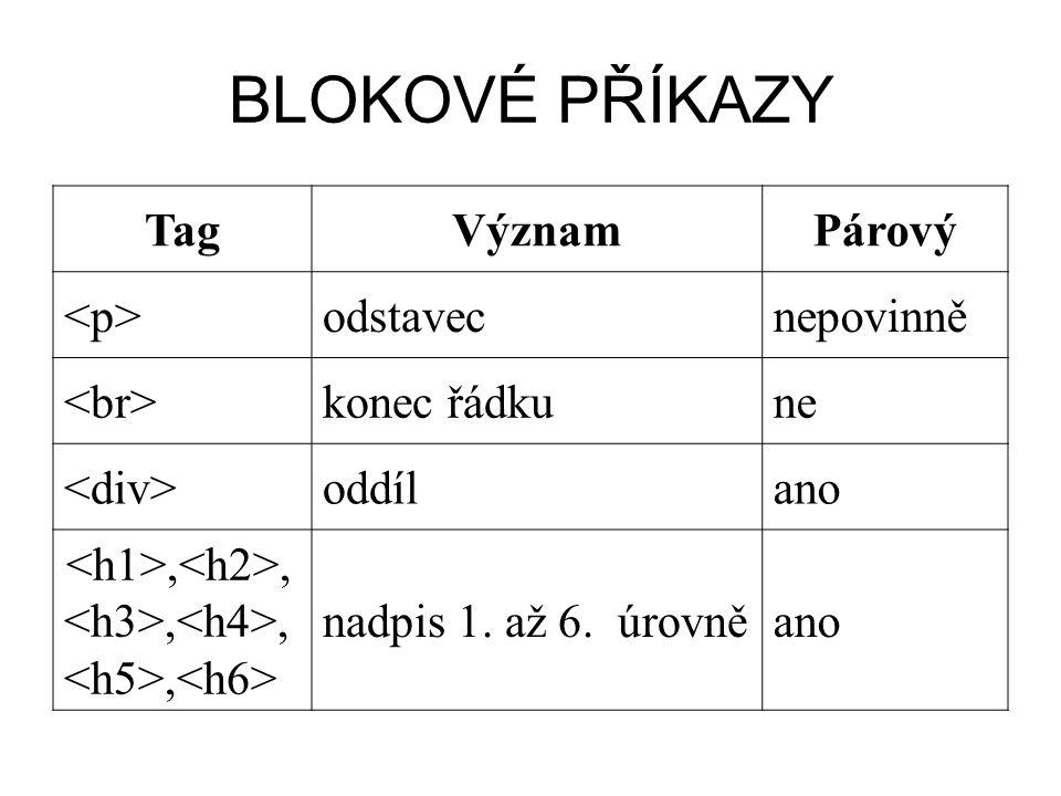 BLOKOVÉ PŘÍKAZY TagVýznamPárový <p><p>odstavecnepovinně konec řádkune oddílano,,,,, nadpis 1. až 6. úrovněano