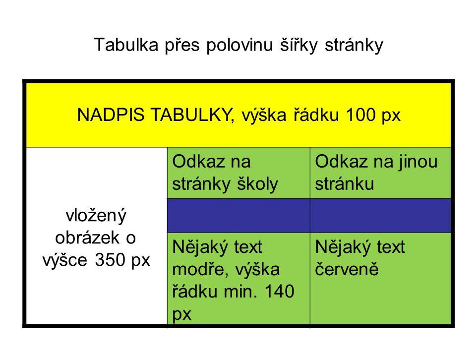 Tabulka přes polovinu šířky stránky NADPIS TABULKY, výška řádku 100 px vložený obrázek o výšce 350 px Odkaz na stránky školy Odkaz na jinou stránku Nějaký text modře, výška řádku min.