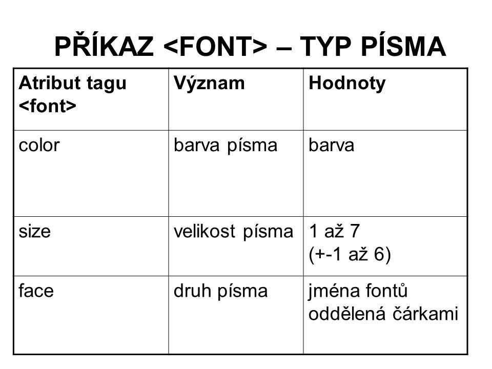 PŘÍKAZ – TYP PÍSMA Atribut tagu VýznamHodnoty colorbarva písmabarva sizevelikost písma1 až 7 (+-1 až 6) facedruh písmajména fontů oddělená čárkami
