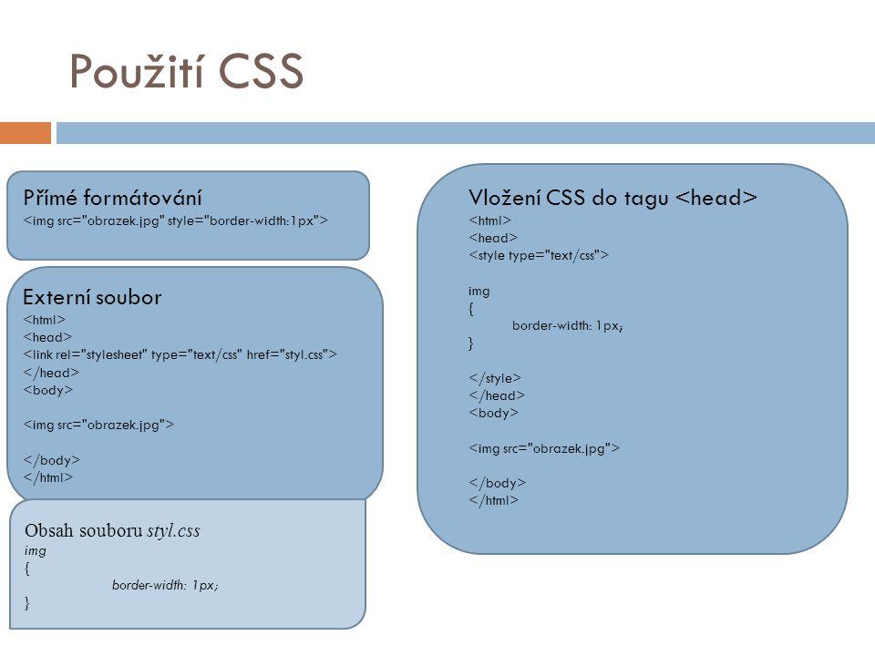 Použití CSS Přímé formátování Vložení CSS do tagu img { border-width: 1px; } Externí soubor Obsah souboru styl.css img { border-width: 1px; }