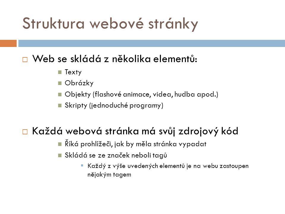 Struktura webové stránky  Web se skládá z několika elementů: Texty Obrázky Objekty (flashové animace, videa, hudba apod.) Skripty (jednoduché program