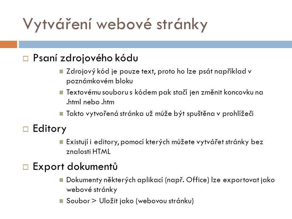 HTML  HTML = HyperText Markup Language  Soubor značek/tagů, které zastupují jednotlivé elementy webu  Zpravidla platí, že 1 tag = 1 element webu  Příklady: Tag = odřádkování textu Tag = obrázek