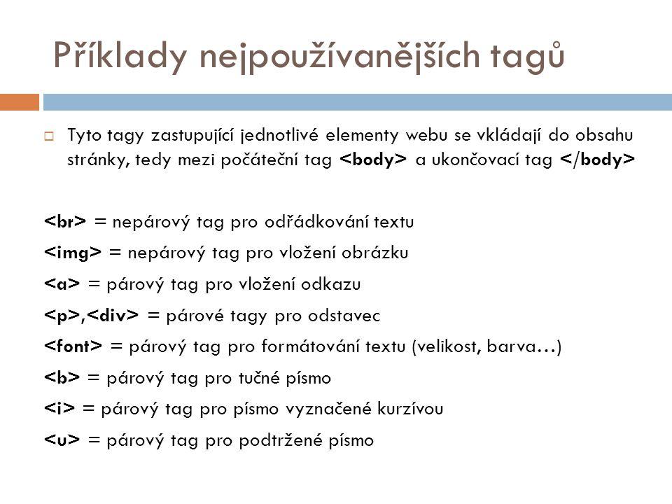 Příklady nejpoužívanějších tagů  Tyto tagy zastupující jednotlivé elementy webu se vkládají do obsahu stránky, tedy mezi počáteční tag a ukončovací t