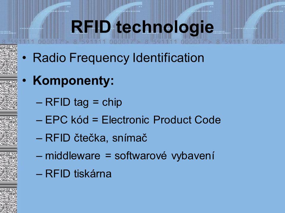 RFID technologie Radio Frequency Identification Komponenty: –RFID tag = chip –EPC kód = Electronic Product Code –RFID čtečka, snímač –middleware = softwarové vybavení –RFID tiskárna