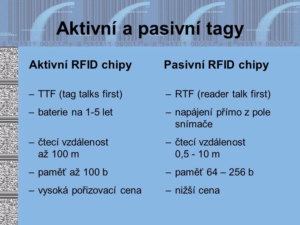Aktivní a pasivní tagy Aktivní RFID chipy –TTF (tag talks first) –baterie na 1-5 let –čtecí vzdálenost až 100 m –paměť až 100 b –vysoká pořizovací cena Pasivní RFID chipy –RTF (reader talk first) –napájení přímo z pole snímače –čtecí vzdálenost 0,5 - 10 m –paměť 64 – 256 b –nižší cena