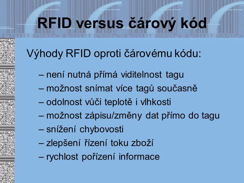 RFID versus čárový kód Výhody RFID oproti čárovému kódu: –není nutná přímá viditelnost tagu –možnost snímat více tagů současně –odolnost vůči teplotě i vlhkosti –možnost zápisu/změny dat přímo do tagu –snížení chybovosti –zlepšení řízení toku zboží –rychlost pořízení informace