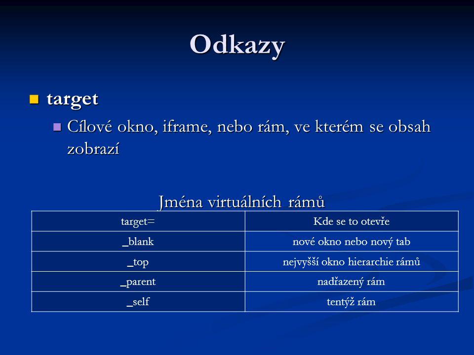 Odkazy target target Cílové okno, iframe, nebo rám, ve kterém se obsah zobrazí Cílové okno, iframe, nebo rám, ve kterém se obsah zobrazí Jména virtuálních rámů Jména virtuálních rámů target=Kde se to otevře _blanknové okno nebo nový tab _topnejvyšší okno hierarchie rámů _parentnadřazený rám _selftentýž rám
