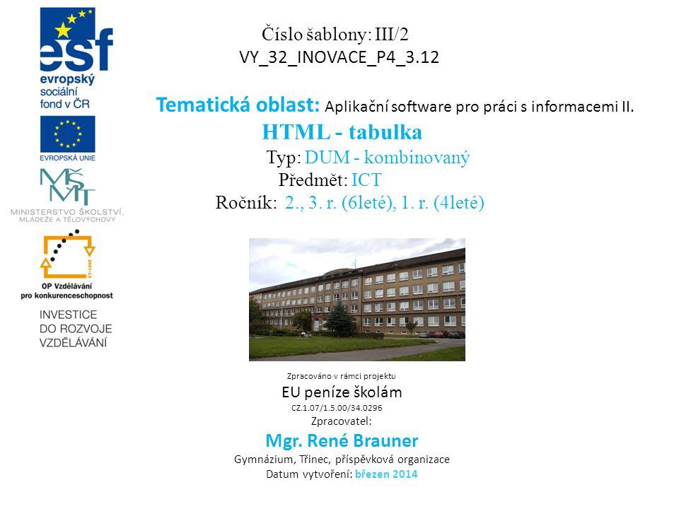 Číslo šablony: III/2 VY_32_INOVACE_P4_3.12 Tematická oblast: Aplikační software pro práci s informacemi II. HTML - tabulka Typ: DUM - kombinovaný Před