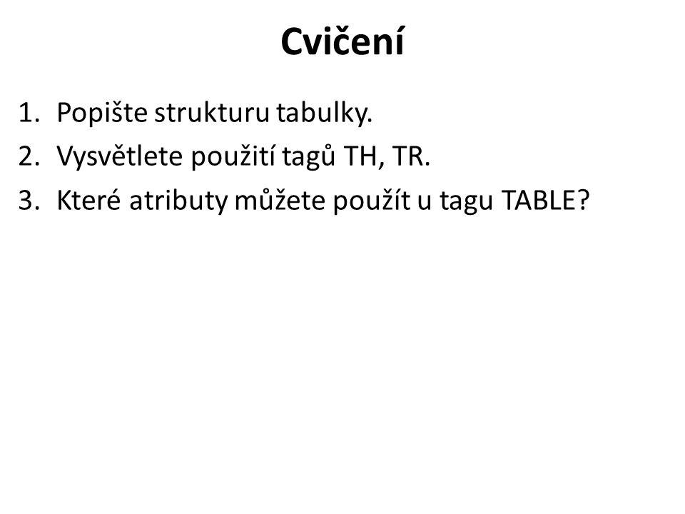 Cvičení 1.Popište strukturu tabulky. 2.Vysvětlete použití tagů TH, TR. 3.Které atributy můžete použít u tagu TABLE?