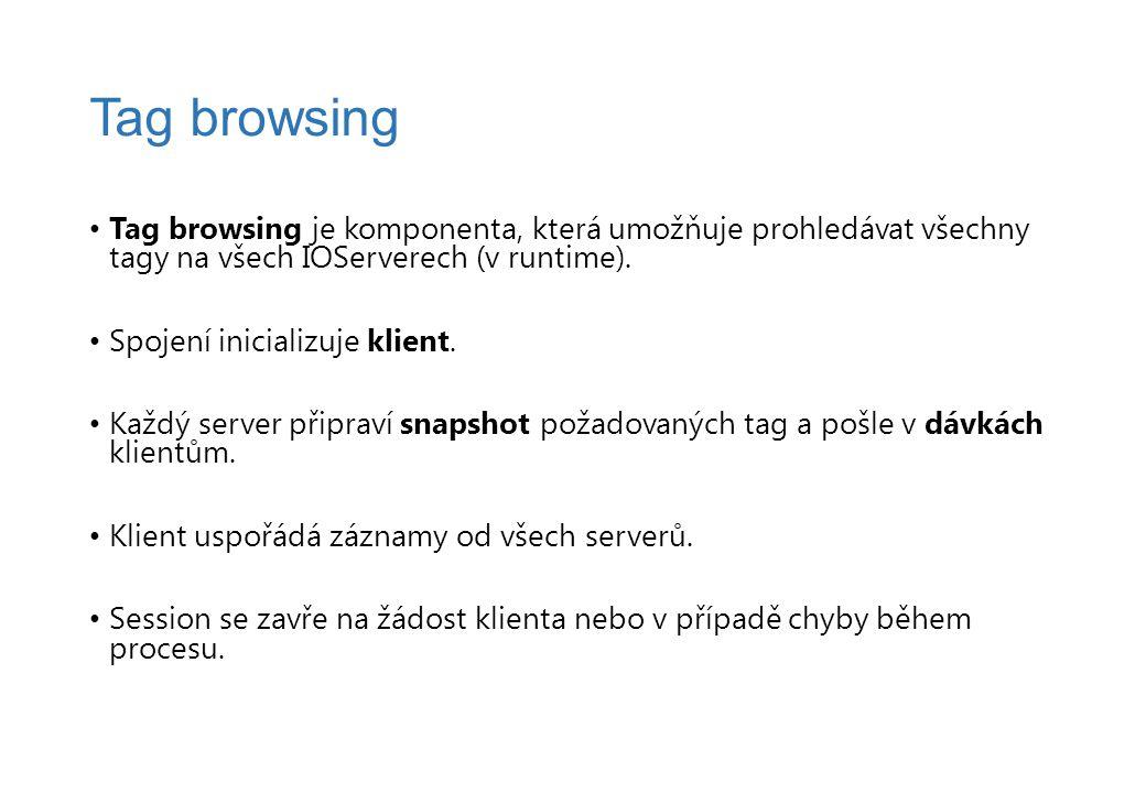 Tag browsing je komponenta, která umožňuje prohledávat všechny tagy na všech IOServerech (v runtime). Spojení inicializuje klient. Každý server připra
