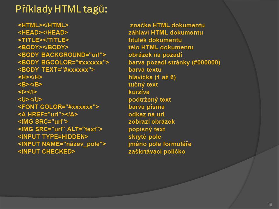 Příklady HTML tagů: značka HTML dokumentu záhlaví HTML dokumentu titulek dokumentu tělo HTML dokumentu obrázek na pozadí barva pozadí stránky (#000000) barva textu hlavička (1 až 6) tučný text kurzíva podtržený text barva písma odkaz na url zobrazí obrázek popisný text skryté pole jméno pole formuláře zaškrtávací políčko 10