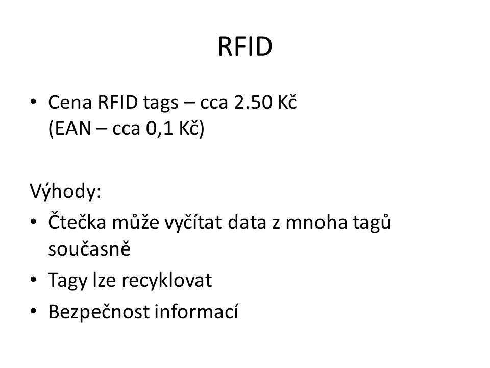 RFID Cena RFID tags – cca 2.50 Kč (EAN – cca 0,1 Kč) Výhody: Čtečka může vyčítat data z mnoha tagů současně Tagy lze recyklovat Bezpečnost informací
