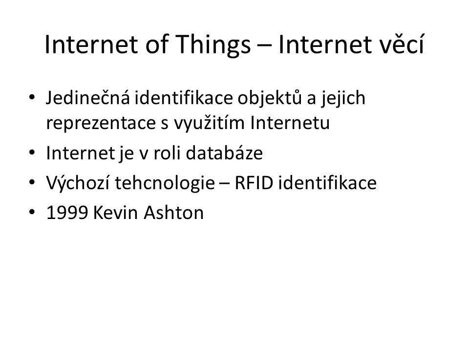 Internet of Things – Internet věcí Jedinečná identifikace objektů a jejich reprezentace s využitím Internetu Internet je v roli databáze Výchozí tehcn