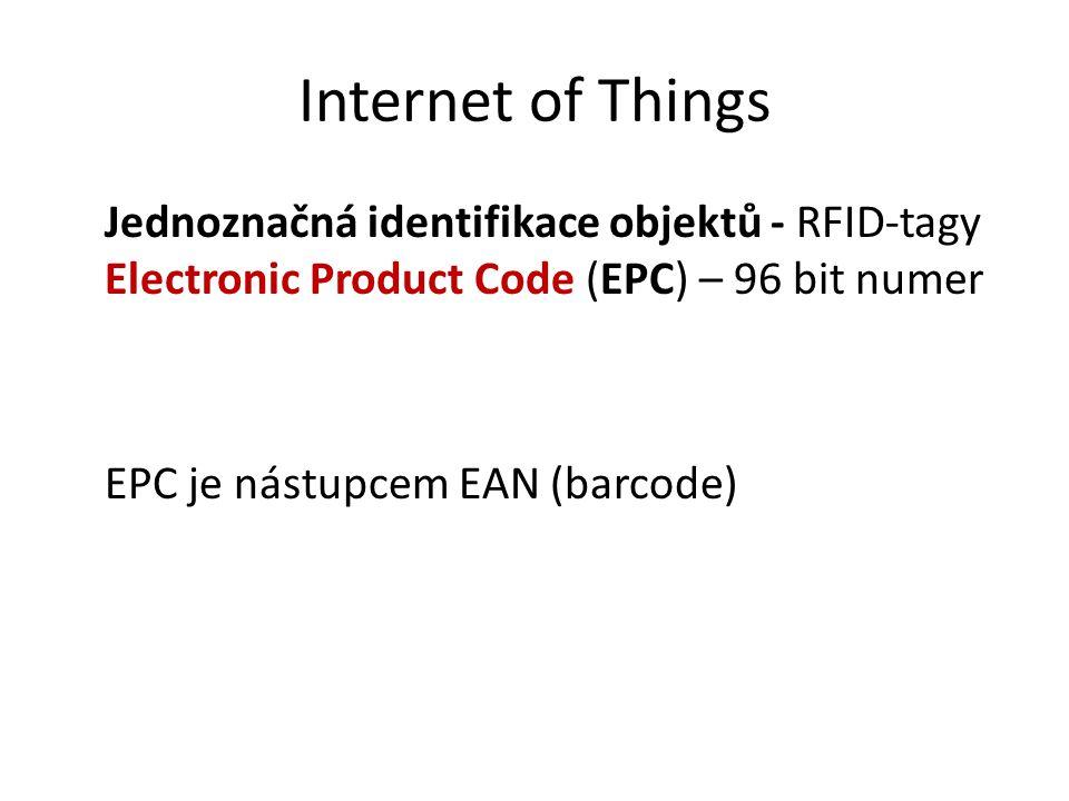 Internet of Things Jednoznačná identifikace objektů - RFID-tagy Electronic Product Code (EPC) – 96 bit numer EPC je nástupcem EAN (barcode)