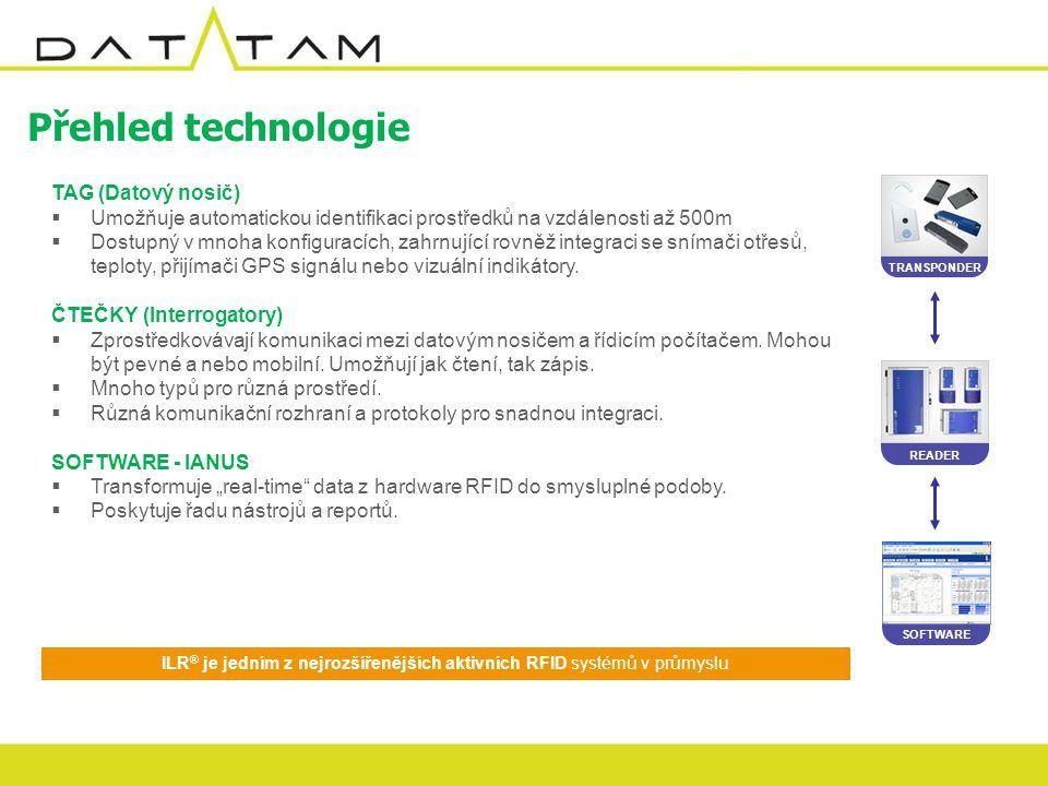 Přehled technologie SOFTWARE READER TRANSPONDER ILR ® je jedním z nejrozšířenějších aktivních RFID systémů v průmyslu TAG (Datový nosič)  Umožňuje automatickou identifikaci prostředků na vzdálenosti až 500m  Dostupný v mnoha konfiguracích, zahrnující rovněž integraci se snímači otřesů, teploty, přijímači GPS signálu nebo vizuální indikátory.