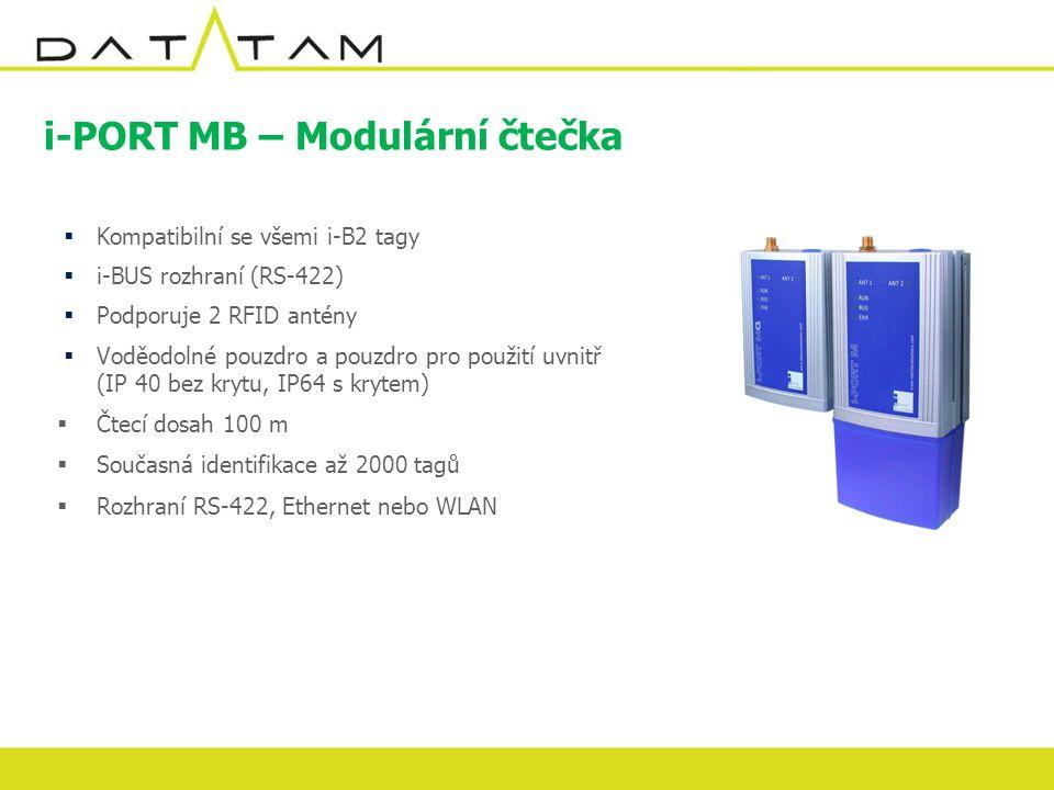 i-PORT MB – Modulární čtečka  Kompatibilní se všemi i-B2 tagy  i-BUS rozhraní (RS-422)  Podporuje 2 RFID antény  Voděodolné pouzdro a pouzdro pro použití uvnitř (IP 40 bez krytu, IP64 s krytem)  Čtecí dosah 100 m  Současná identifikace až 2000 tagů  Rozhraní RS-422, Ethernet nebo WLAN