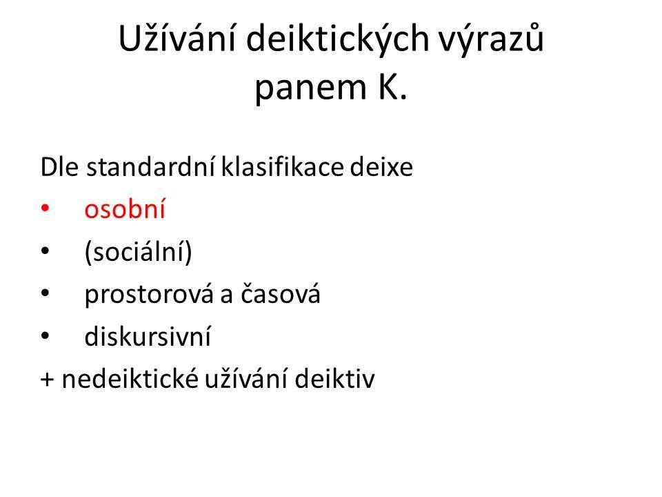 Stručný popis projevu pana K.
