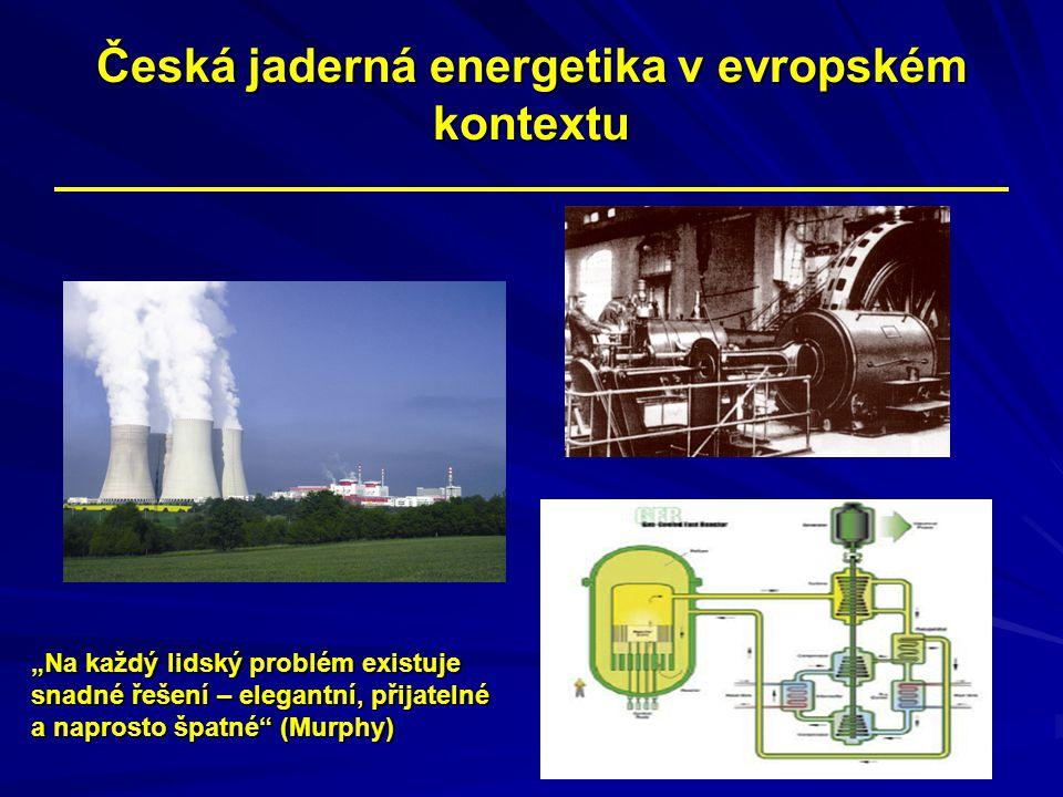 """Česká jaderná energetika v evropském kontextu """"Na každý lidský problém existuje snadné řešení – elegantní, přijatelné a naprosto špatné"""" (Murphy)"""