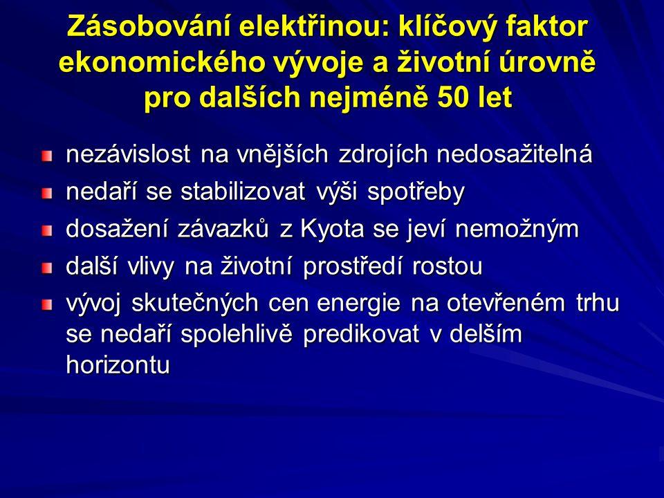 Zásobování elektřinou: klíčový faktor ekonomického vývoje a životní úrovně pro dalších nejméně 50 let nezávislost na vnějších zdrojích nedosažitelná n