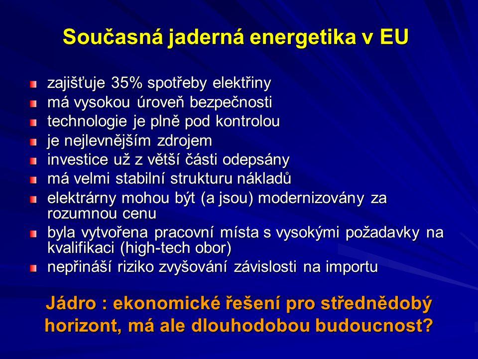 Současná jaderná energetika v EU zajišťuje 35% spotřeby elektřiny má vysokou úroveň bezpečnosti technologie je plně pod kontrolou je nejlevnějším zdro