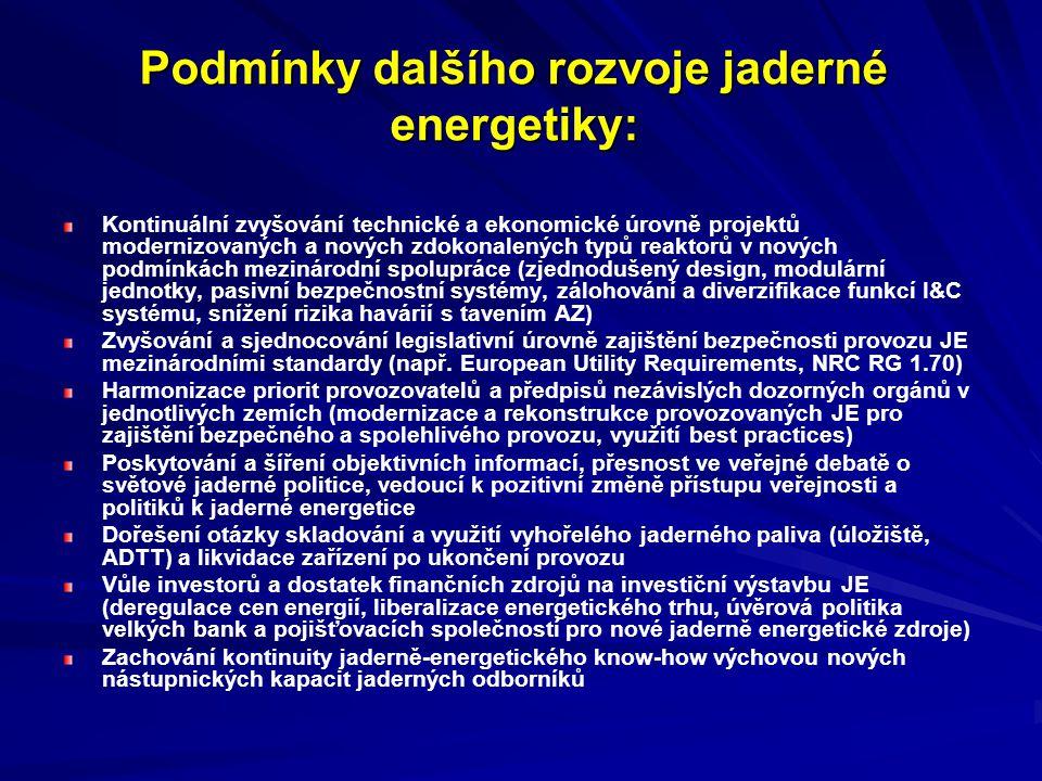 Podmínky dalšího rozvoje jaderné energetiky: Kontinuální zvyšování technické a ekonomické úrovně projektů modernizovaných a nových zdokonalených typů