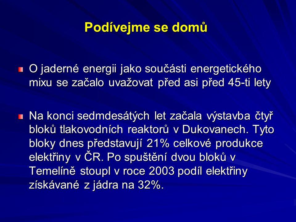 Podívejme se domů O jaderné energii jako součásti energetického mixu se začalo uvažovat před asi před 45-ti lety Na konci sedmdesátých let začala výst