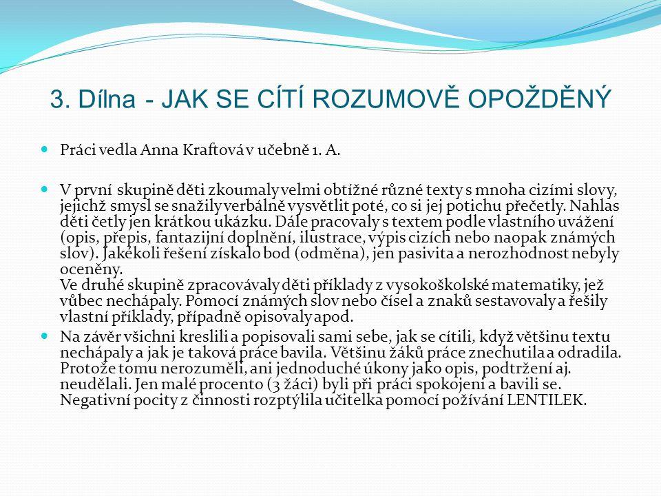 3. Dílna - JAK SE CÍTÍ ROZUMOVĚ OPOŽDĚNÝ Práci vedla Anna Kraftová v učebně 1. A. V první skupině děti zkoumaly velmi obtížné různé texty s mnoha cizí