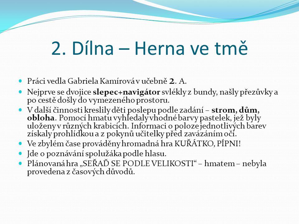 2. Dílna – Herna ve tmě Práci vedla Gabriela Kamírová v učebně 2. A. Nejprve se dvojice slepec+navigátor svlékly z bundy, našly přezůvky a po cestě do